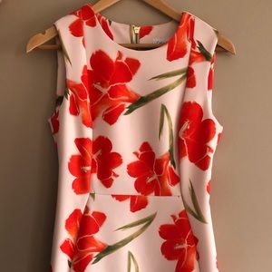 Calvin Klein Sheath Dress - Orange Flower Print